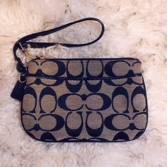 COACH Black and Grey Wristlet With Blue Lining